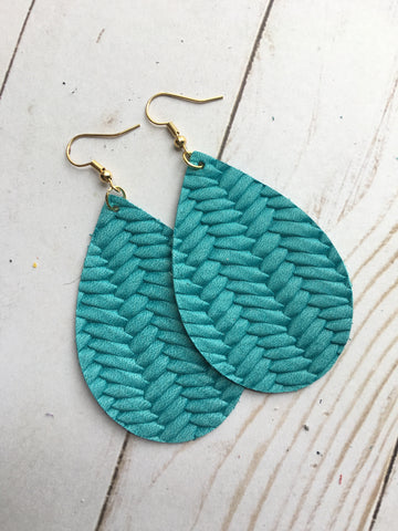 Turquoise Braided Earrings