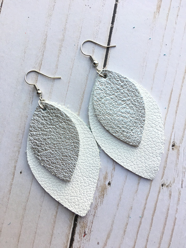 White and Silver Rebecca Earrings