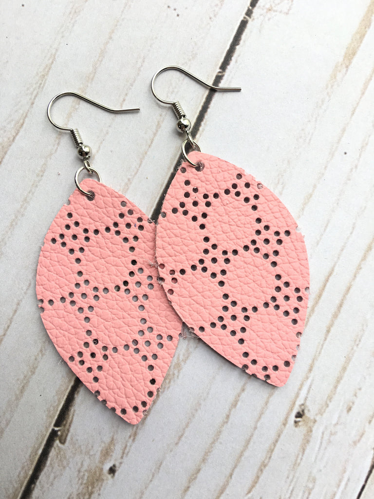 Soft Pink Perforated Leather Earrings