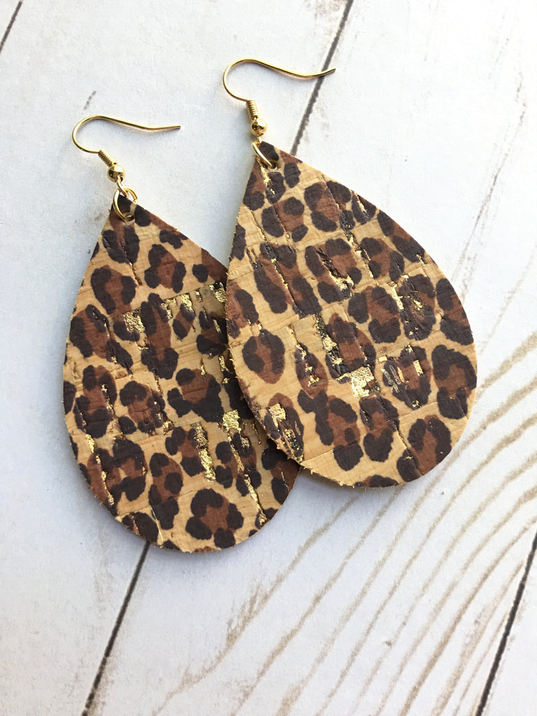 Leopard Gold Fleck Cork Leather Earrings
