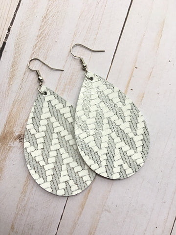 Silver and White Chevron Earrings