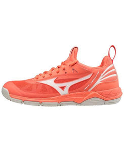 Mizuno Wave Luminous Living Coral Netball Trainers