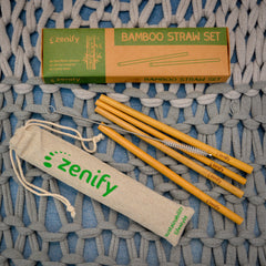 Zenify Bamboo Reusable Straws Set of 4