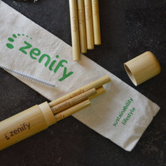 Zenify Bamboo Reusable Straws Set of 8 with Case