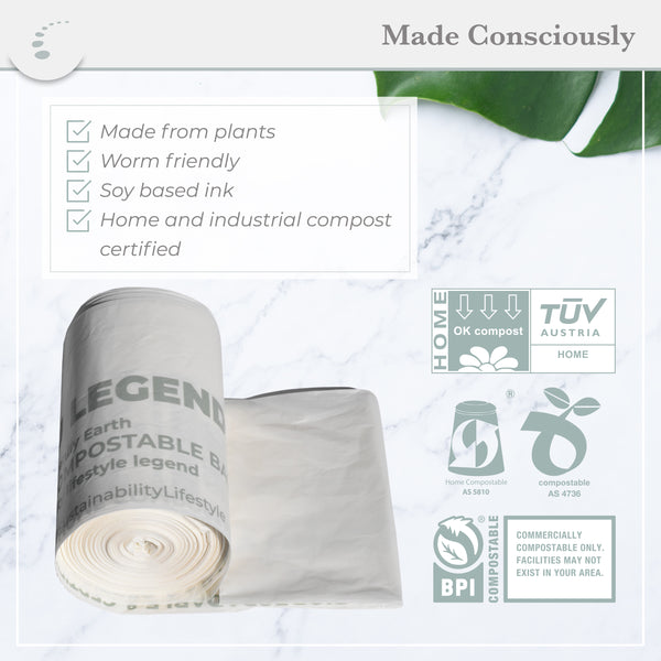 Zenify Earth Compostable Bin Liners 8L (48 bags) - Small compost caddy biodegradable