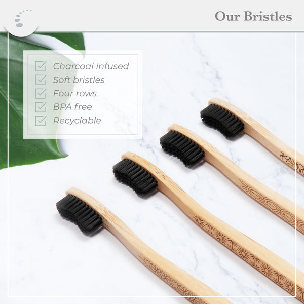 Zenify Earth Bamboo Toothbrush Adult (Set of 4) - Charcoal Infused Soft BPA Free Bristles