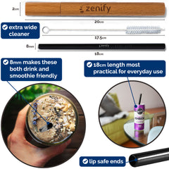 Zenify Reusable Metal Straws 4 Pack with Case - Black