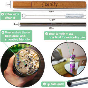 Zenify Reusable Metal Straws 4 Pack with Case - Rose Gold