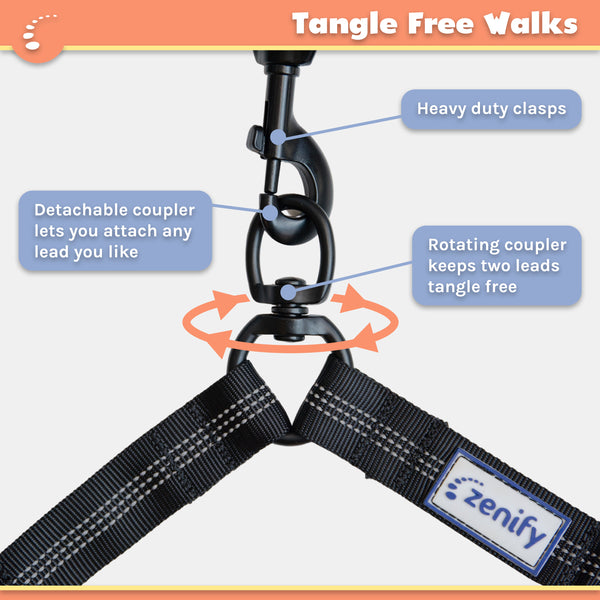 Zenify Pets Double Dog Lead Dual Two Way Tangle Free Coupler Split Bungee Leash
