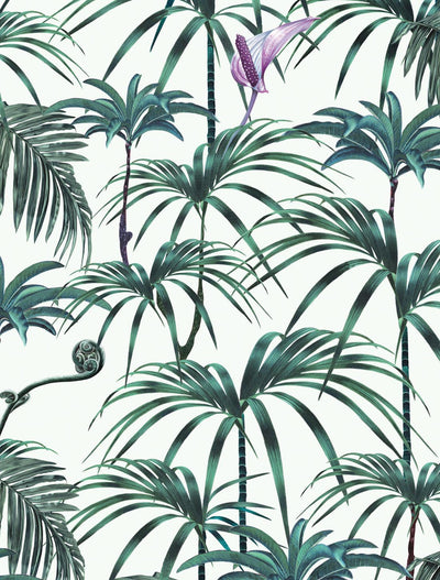 Witch and watchman Elysian Palms Green tiki tropical wallpaper closeup