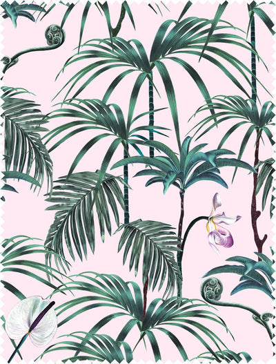 Witch and watchman Elysian Palms Pink fabric sample