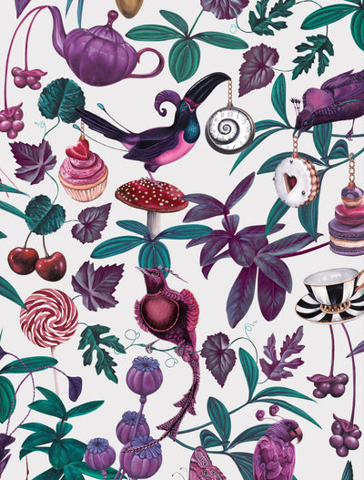 Witch and watchman belladonna light whimsical bird wallpaper closeup