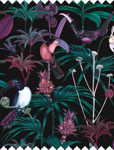 Witch and watchman xanadu dark tropical Fabric closeup