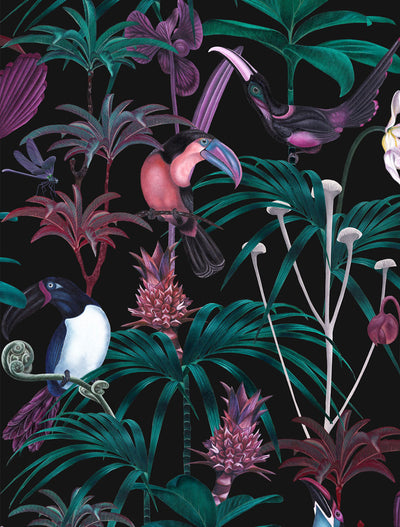 Witch and watchman xanadu dark tropical wallpaper closeup