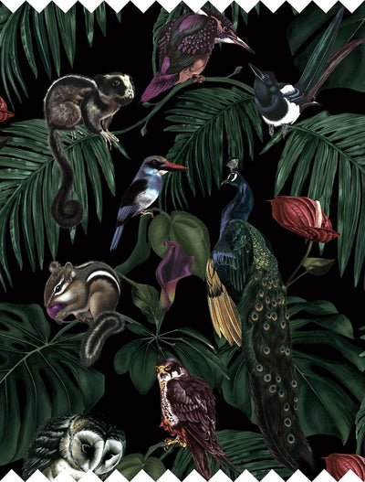 witch and watchman Amazonia dark tropical animal Fabric closeup