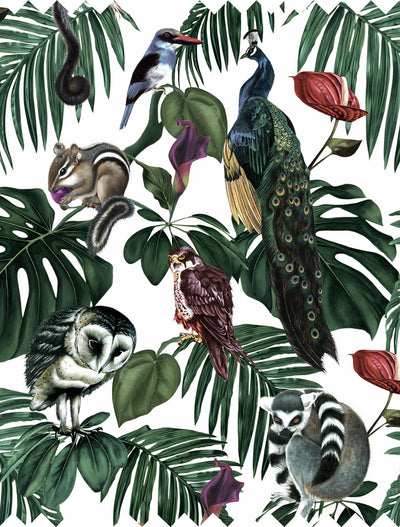 witch and watchman Amazonia light tropical animal Fabric closeup