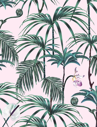 witch and watchman elysian palms pink tiki tropical wallpaper closeup