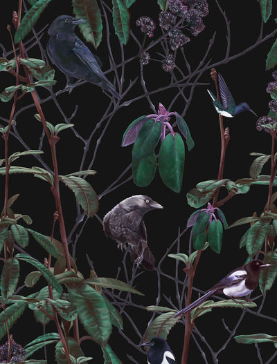 witch and watchman folia dark woodland wallpaper closeup