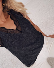 Vara top black glitter