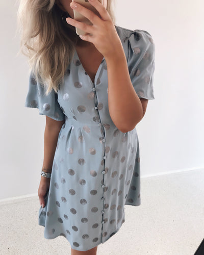 Belle 3/4 dress dusty blue/belle print