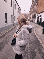 Chloé long faux fur light grey
