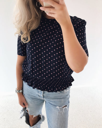 Dotty smock S/S top navy