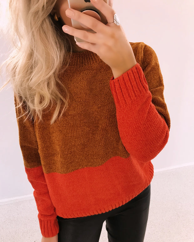 Henna stripe caramel sweater