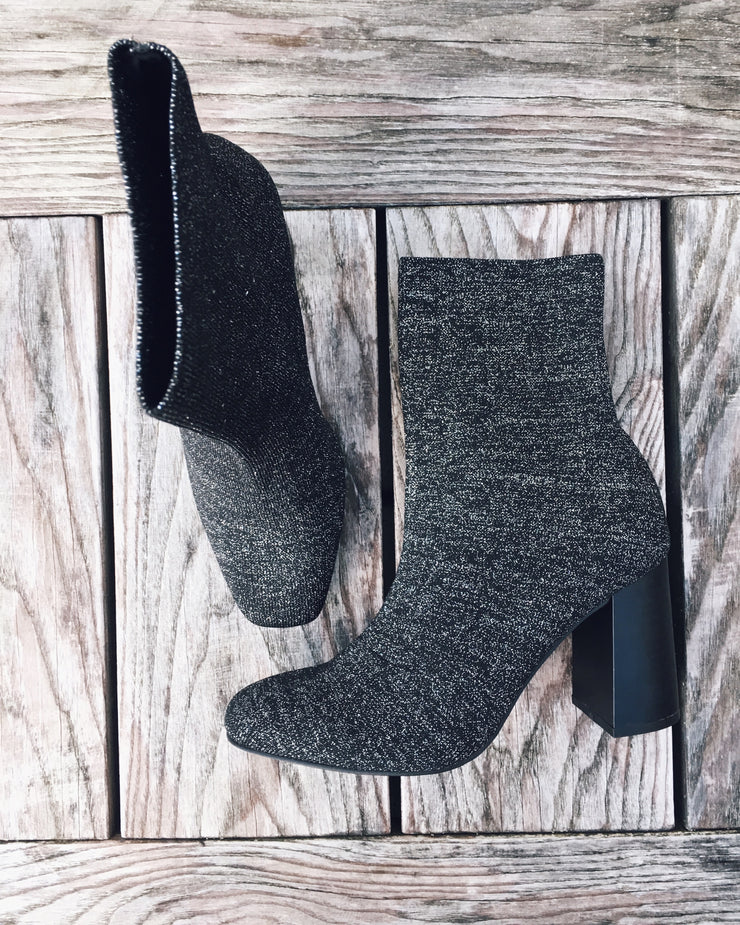 Knit ankle boots glitter
