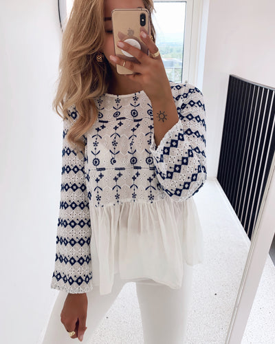 Agata top white/blue