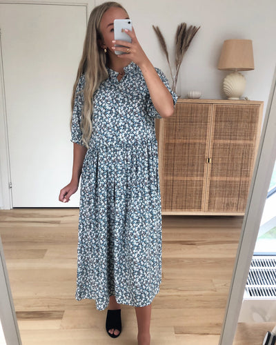 Nervia ss midi dress kentucky blue flower
