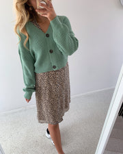 Lea long sleeved v-neck cardigan jadeite