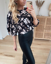 Gidy blouse black/latte flower