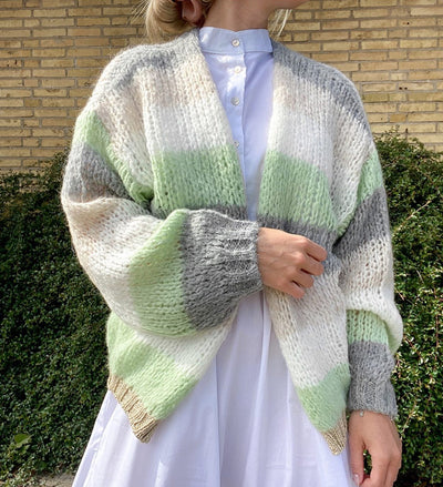 Kala knit cardigan aquagreen stripe
