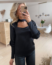 Frida l/s choker top black