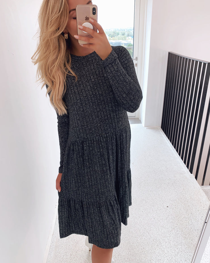 Vini long sleeved dress dark grey mel