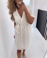 Lena v-neck dress white