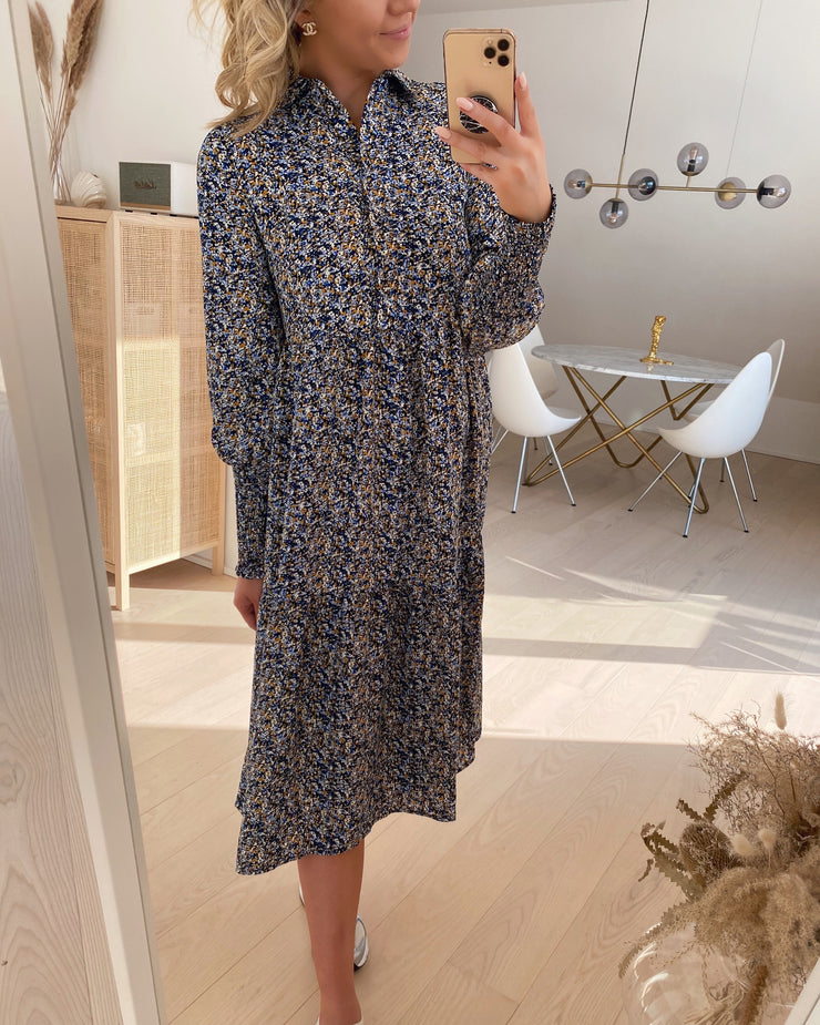 Viola l/s calf smock dress navy blazer/uma
