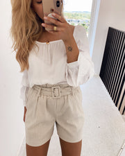 Gally high waist shorts oatmeal white