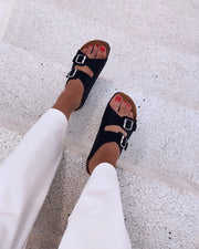 Twin strap sandal mat black