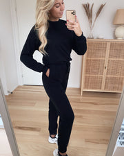 Natalia high waist sweat pant black - FORUDBESTILLING