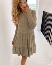 Vini long sleeved dress khaki mel