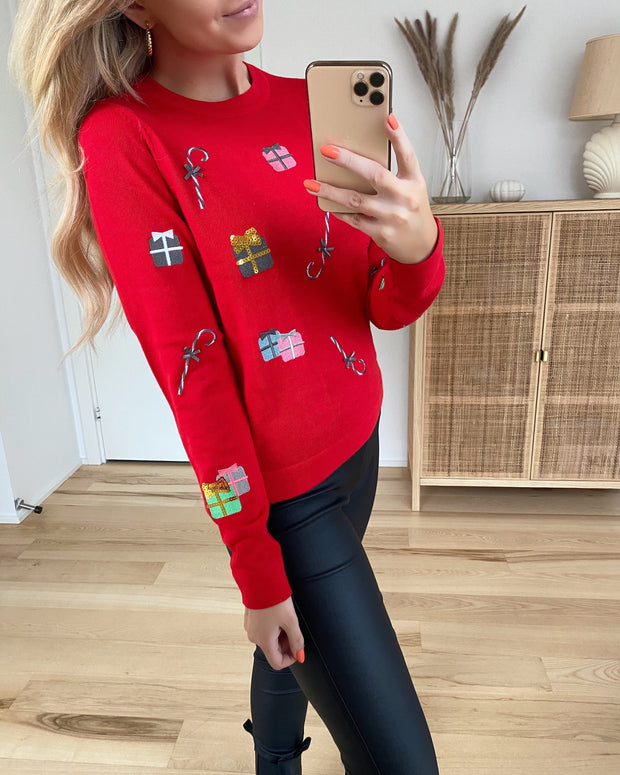 Christmaspatch ls o-neck knit chinese red