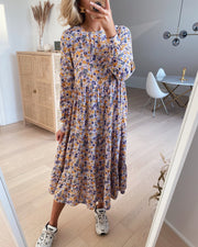 Chullu ls midi dress orchid bloom yellow/blue flowers