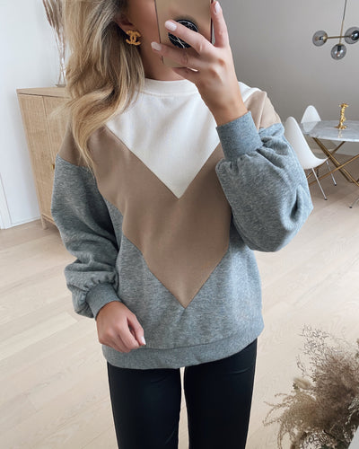 Natalie l/s color sweat grey/nomad/birch