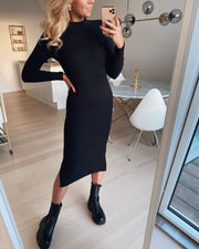 Harriet l/s high neck dress black