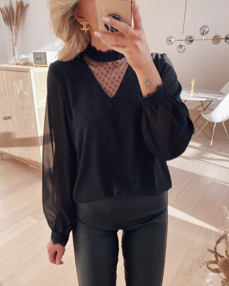 Bella ls lace top black