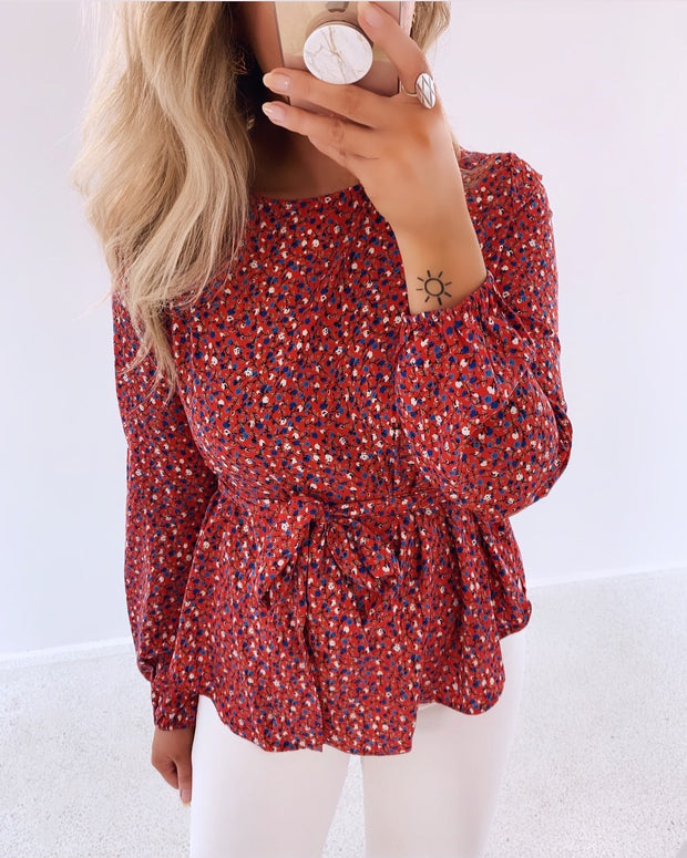 Lucy red flower blouse