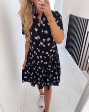 Simone s/s short dress black/luna