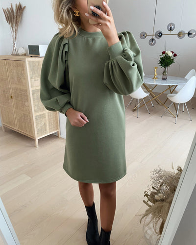 Natalie l/s pleat dress oil green