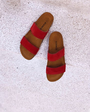Twin strap sandals red 2